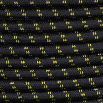 16/3 SJT-B Black/Yellow 2 Tic Tracer Pattern Nylon Fabric Cloth Covered Lamp and Lighting Wire.