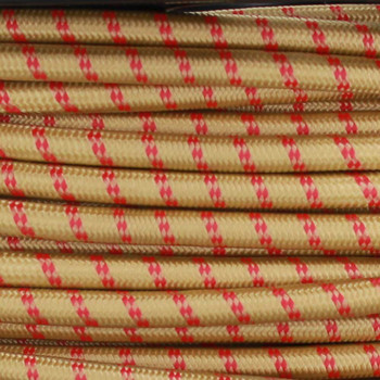 16/3 SJT-B Gold/Red 2 Tic Tracer Pattern Nylon Fabric Cloth Covered Lamp and Lighting Wire.