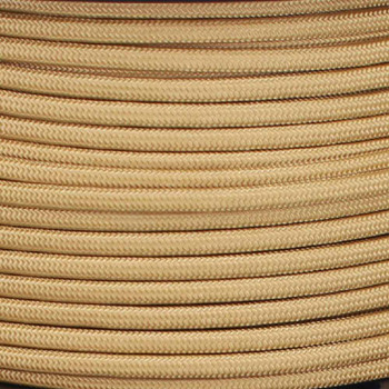 20/2 Gauge Flat Parallel Gold Cloth Nylon Covered French Style Fixture Wire.