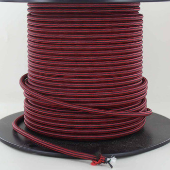 18/3 SVT-B Black/Red DIAMOND PATTERN NYLON FABRIC CLOTH COVERED PENDANT AND TABLE LAMP WIRE