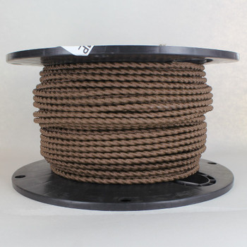 Brown 18/3 Bungalow Style Twisted AWM Wire with Fabric Cloth Over braid.