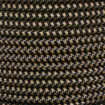 16/3 SJT-B Black/Gold Hounds Tooth Pattern Nylon Fabric Cloth Covered Lamp and Lighting Wire.