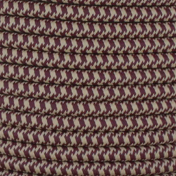 16/3 SJT-B Beige/Wine Hounds Tooth Pattern Nylon Fabric Cloth Covered Lamp and Lighting Wire.