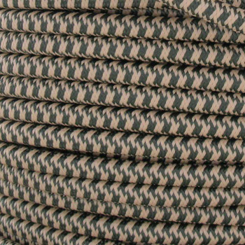 16/3 SJT-B Forest Green/Beige Hounds Tooth Nylon Fabric Cloth Covered Lamp and Lighting Wire.