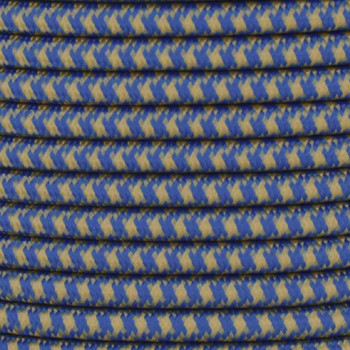 16/3 SJT-B Blue/Gold Hounds Tooth Pattern Nylon Fabric Cloth Covered Lamp and Lighting Wire.