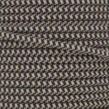 16/3 SJT-B Black/Beige Hounds Tooth Pattern Nylon Fabric Cloth Covered Lamp and Lighting Wire.