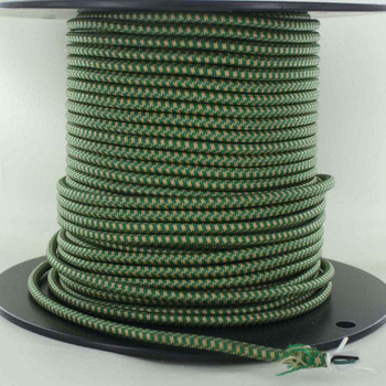 16/3 SJT-B Green/Gold Hounds Tooth Pattern Nylon Fabric Cloth Covered Lamp and Lighting Wire.
