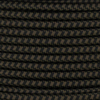 16/3 SJT-B Black/Brown Hounds Tooth Pattern Nylon Fabric Cloth Covered Lamp and Lighting Wire.