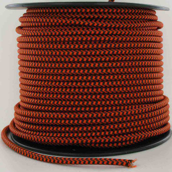 16/3 SJT-B Black/Safety Orange Hounds Tooth Patte Nylon Fabric Cloth Covered Lamp and Lighting Wire.