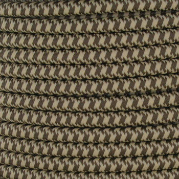 16/3 SJT-B Brown/Beige Hounds Tooth Pattern Nylon Fabric Cloth Covered Lamp and Lighting Wire.