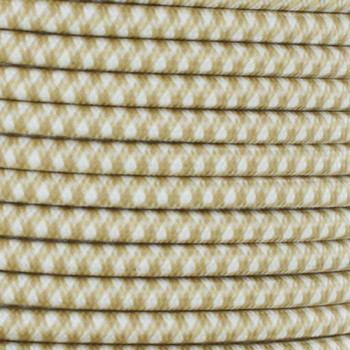 16/3 SJT-B Gold/White Hounds Tooth Pattern Nylon Fabric Cloth Covered Lamp and Lighting Wire.