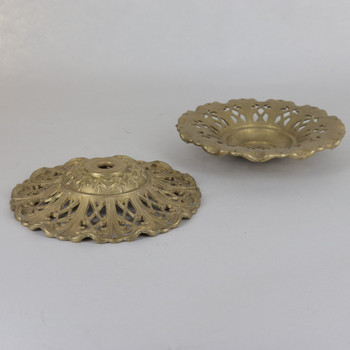 4-5/8in (177mm) Diameter Cast Brass Bobesche with Pin Holes and 1/8ips Slip Center Hole - Unfinished Brass