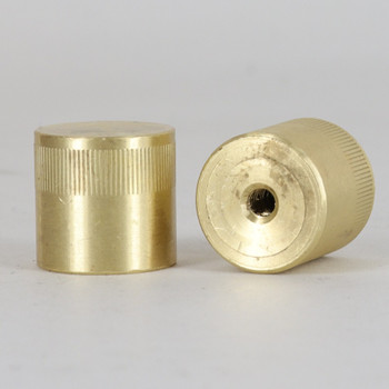 8/32 UNC - 3/4in x 3/4in Knurled Cylinder Cap - Unfinished Brass