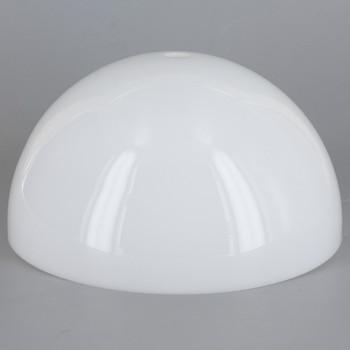 6in Diameter White Acrylic Hemisphere with 1/8ips Slip 7/16in Diameter Center Hole