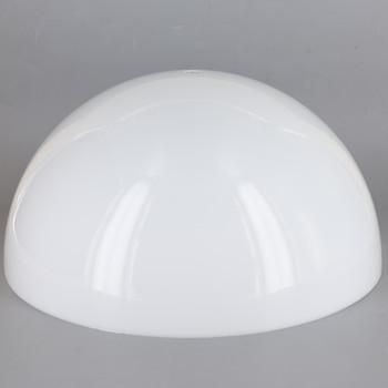 10in Diameter White Acrylic Hemisphere with 1/8ips Slip 7/16in Diameter Center Hole