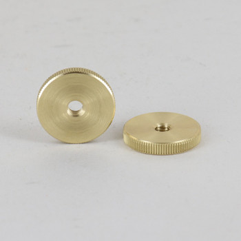 8/32 UNC -3/4in Diameter Round Knurled Brass Locknut.