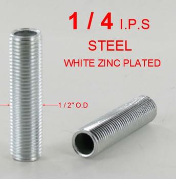 1in. x 1/4ips. Threaded  Zinc Plated Steel Hollow Nipple