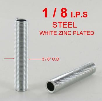 1/2in. x 1/8ips. Threaded Zinc Plated Steel Hollow Nipple