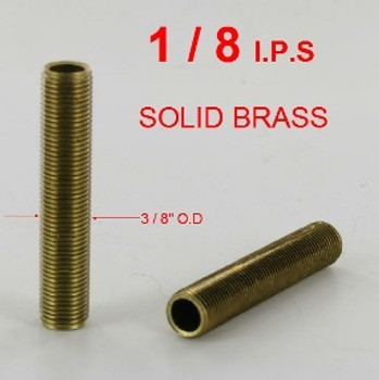 1-1/8in. x 1/8ips. Threaded  Unfinished Brass Hollow Nipple