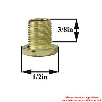 3/8in Long Thread X 1/8ips. Male Threaded Hex Head Brass Plated Steel Nipple