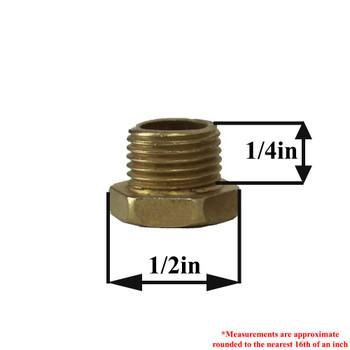 1/4in. Long thread X 1/8ips. Male Threaded Brass Plated Steel  Hex Head Nipple