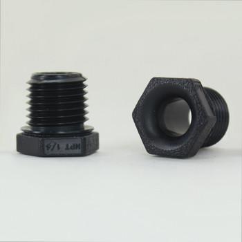 1/4NPT Threaded Nylon Smooth Bore Hex Nipple Bushing - Black