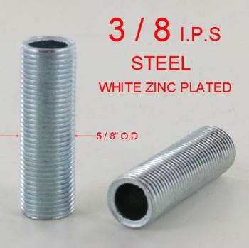 1/2in. x 3/8ips. Threaded Zinc Plated Steel Hollow Nipple