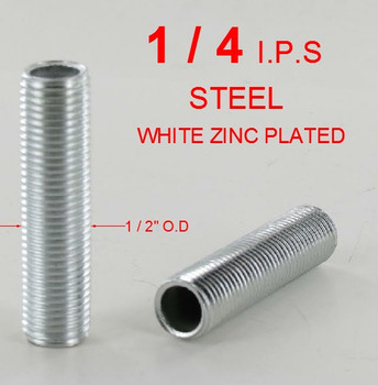 1/2in. X 1/4ips. Threaded  Zinc Plated Hollow Steel Nipple