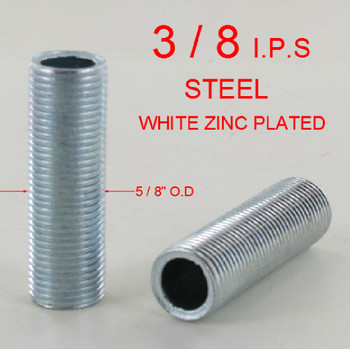 3in. x 3/8ips. Threaded Zinc Plated Steel Hollow Nipple