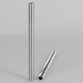 3/8in Long 5/16-27 UNS Fully Threaded Zinc Plated Steel Hollow Nipple