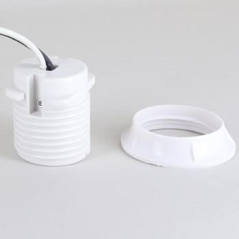 White Phenolic E-26 Threaded Skirt Sign Socket 10 Socket Harness Set with Shoulder and Ring