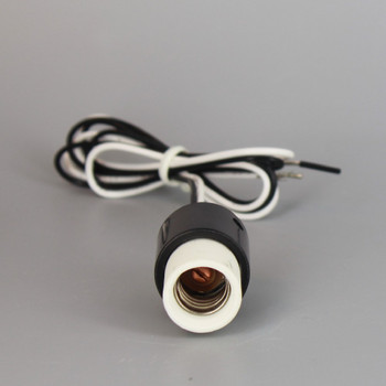 1-5/8in Height  Porcelain E-12 Base Damp Location Rated Lamp Socket with 24in Wire Leads.