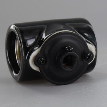 Black Porcelain E-26 Base Twin Socket with 1/8ips. Bushing. Screw Terminals