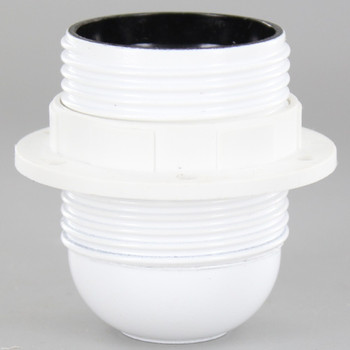 White E-26 Base Phenolic Socket with Threaded Outer Shell and 1/8ips. Cap - Includes Ring