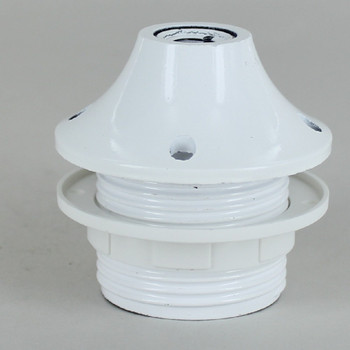 White E-26 Base Phenolic Threaded Pendant Style Socket with 1/8ips. Cap and Shade Ring
