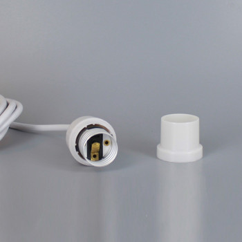 White Phenolic E-26 Smooth Shell Keyless Socket with 8ft. Wire Leads