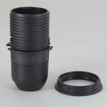 E-12 Black Threaded Skirt with Shoulder Stop  Thermoplastic Lamp Socket with Shade Ring