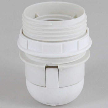 1/8ips E-26 White Threaded Skirt with Shade Rest Shoulder Thermoplastic Lamp Socket with Shade Ring