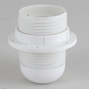 E-26 White Fully Threaded Skirt Thermoplastic Lamp Socket Includes Shade Ring