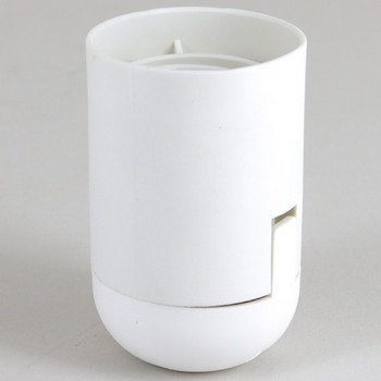 E-26 White Smooth Skirt Thermoplastic Lamp Socket with 1/8ips Threaded Cap and Locking Setscrew