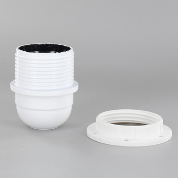 White E-26 Phenolic Socket Threaded with Shoulder and 1/8ips. Cap - Includes Ring