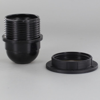 Black E-26 Phenolic Socket Threaded with Shoulder and 1/8ips. Cap - Includes Ring