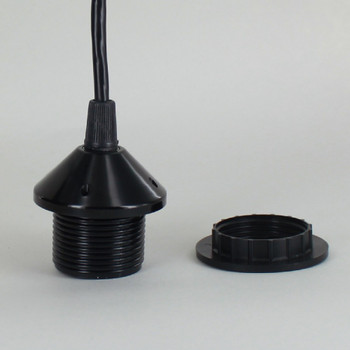 Black E-26 Phenolic Pendant Socket Threaded Shoulder with Ring and Pre-Wired with 4ft. Leads