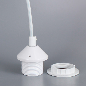 White E-26 Phenolic Pendant Socket Threaded Shoulder with Ring and Pre-Wired with 4ft. Leads