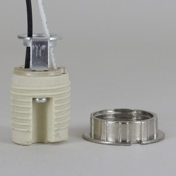 G-9 Porcelain Socket With 72 Inch Leads And 1/8 Hickey With Threaded Body And Metal Ring