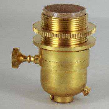 Smooth Shell Long Uno Threaded Three Way Round Key Lamp Socket - Unfinished Brass