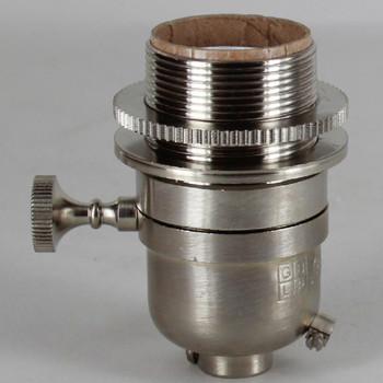 Smooth Shell Long Uno Threaded Three Way Round Key Lamp Socket - Satin Nickel