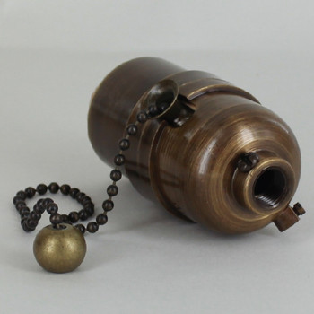 Pull Chain Smooth Shell Cast Lamp Socket - Antique Brass