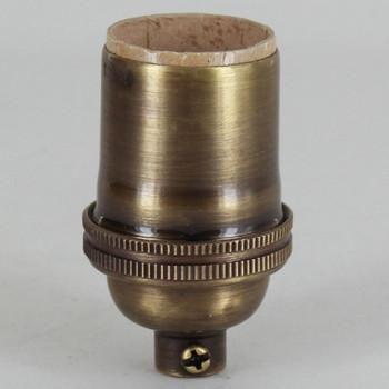 E-26 Keyless Socket with 1/8ips. Female Threaded Cap - Antique Brass Finish