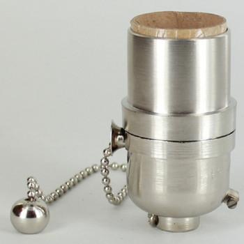 Pull Chain Smooth Shell Cast Lamp Socket - Satin Nickel